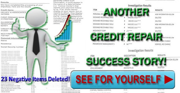 Negative Items Deleted Credit Repair Results