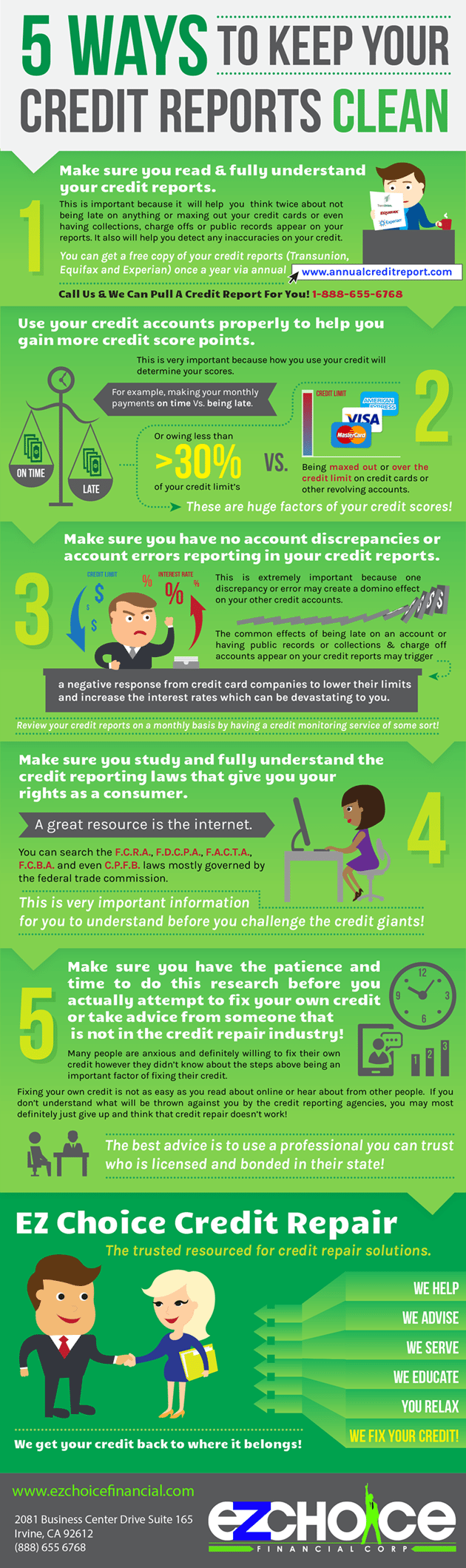 5 ways to keep your credit reports clean ez choice credit repair infographic